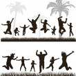 Young active family. Very detailed silhouettes. Conceptual set. — Stock Vector