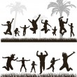 Young active family. Very detailed silhouettes. Conceptual set. — Stock Vector #45779403
