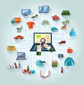 Plano y diseño web banner. línea de las compras y de negocios. trasfondo conceptual. — Vector de stock