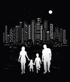 City life. Urban background and family silhouettes. — Vetorial Stock