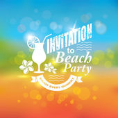 Invitation to beach party. Tropical background. — Stock Vector