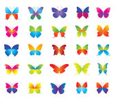 Set of beautiful colorful butterflies for decoration. — Stock Vector