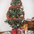 Christmas tree with present boxes — Stock Photo