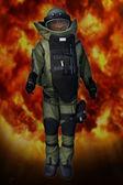 Pyrotechnic mining suit blast — Stock Photo