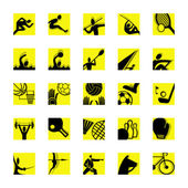 Sport icon set yellow — Stock Vector