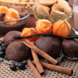Stock Photo: Chocolate cakes with cinnamon and vanilla