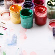 Artistic equipment: paint, brushes — Stock Photo