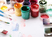 Artistic equipment: paint, brushes — Stok fotoğraf