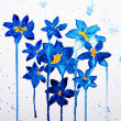Blue flower on watercolor paper background — Stock Photo