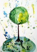 Abstract watercolor painting.Tree. — Stock Photo