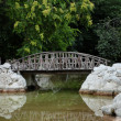 Old wooden bridge in the park.Greece,Athens. — Stock Photo