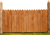 Wooden fence isolated on white — Stock Photo