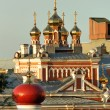 Domes of the churches of the Orthodox monastery in Samara - Stock Photo