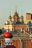 Domes of the churches of the Orthodox monastery in Samara — Stock Photo