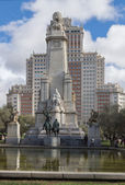 Monument to Cervantes in Madrid — Stock Photo
