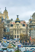 Madrid, Spain - February 13, 2014: Cars passing on the Gran Via, — Stock Photo