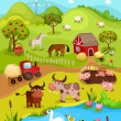 Farm card — Stock Vector