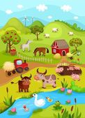 Farm card — Stockvector