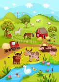 Tarjeta de granja — Vector de stock