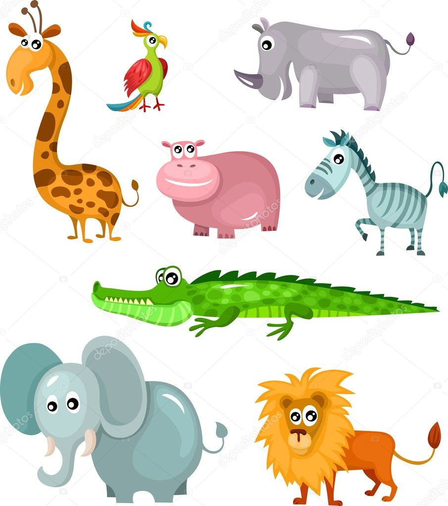 Vector illustration of a african animal set — Stock Vector #12789644