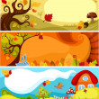 Stock Vector: Autumn card set