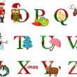 Christmas alphabet — Vector de stock