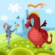 Dragon and knight - Grafika wektorowa