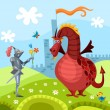 Dragon and knight - Imagen vectorial