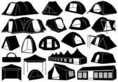 Set of tents — Stock Vector