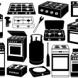 Stove set - Stock Vector