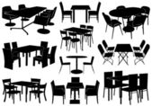 Illustration of tables and chairs — Stok Vektör