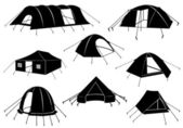 Set of tents isolated — Stock Vector