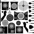 Set of different dartboards — Stock Vector