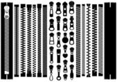Set Of Different Zippers — Stock Vector