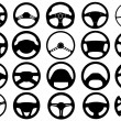 Set of different steering wheels — Stock Vector