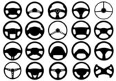 Set of different steering wheels — Stock Vector