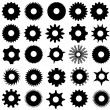 Different Gear Shapes Isolated — Stock Vector