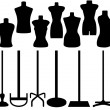Set of different tailor's mannequin — Stock Vector