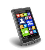 スマート フォン上のソーシャル メディア アプリ — ストック写真