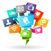 Social media Origami — Stock Photo