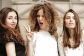 Three funny pretty girls make self photo — Stock Photo