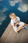 Portrait of a boy in the cloud — Stockfoto