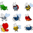 Cartoon insects set — Vettoriali Stock