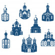 Stock Vector: Religious churches and temples