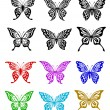 Butterfly set in colorful and monochrome style — Stock Vector #12856523
