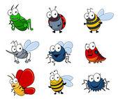Cartoon insecten set — Stockvector