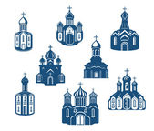 Religious churches and temples — Stock Vector