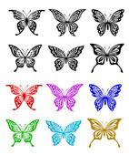 Butterfly set in colorful and monochrome style — Stock Vector