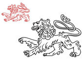 Vintage lion silhouette — Stock Vector