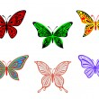 Stock Vector: Set of colorful butterflies